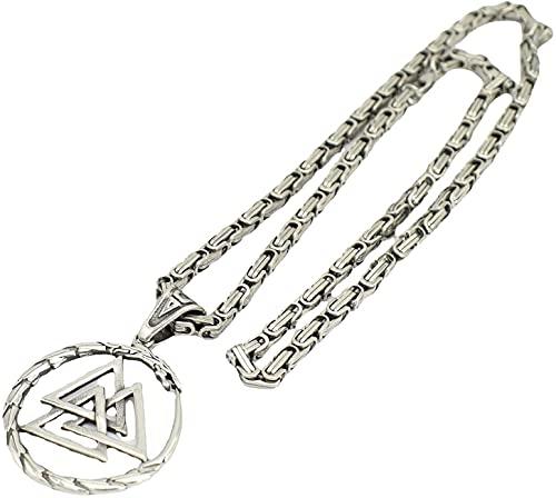 AMOZ Collar Doble de Dragón Medievala, Colgante de Amuleto con Símbolo de Guerrero de Mitología, Joyería Pagana Religiosa (Color: Plata, Tamaño: 60Cm),Plata,Los 60Cm