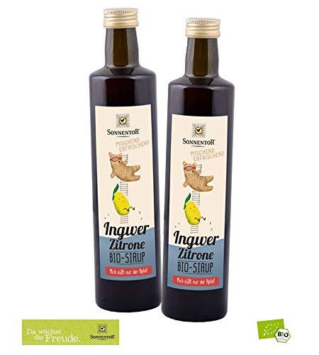 Sonnentor Bio-Gemischter Fruchtsirup: 2er Pack Ingwer-Zitronen Sirup (je 500 ml) BIO-AT-301