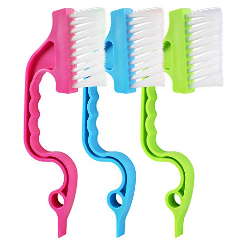 3 Pcs hand-held groove gap cleaning tools door window track kitchen cleaning brushes hand-held bathroom cleaning brushes(Pink, Blue, Green) -  OSGP