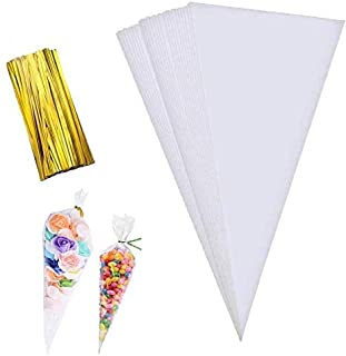 Maouywiee Cone Bag 100 PCS Clear Cello Treat Bags Popcorn Bags Triangle Goody Bags with Twist Ties for Candies Handmade Co...