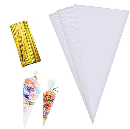 Cone Bag 100 PCS Clear Cello Treat Bags Popcorn Bags Triangle Goody Bags with Twist Ties for Candies Handmade Cookies (5.1