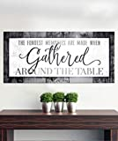 Sense of Art| The Fondest Memories Sign | Kitchen decorations wall| Gather signs for home decor|Framed wall art| Large wall décor| Dining room wall decor (Grey, 60x27)