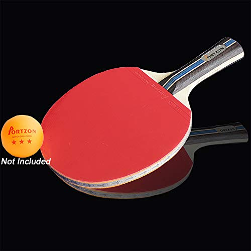 Portzon Ping Pong Paddle Advanced Training Table Tennis Racket, with Soft Sponge Rubber Carrying Case for Training Recreational Play, Beginner, Single
