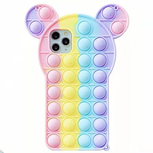 YEARN MALL Custodia per iPhone SE 2020/8/7/6s/6, Push Bubble Fidget Toy antiurto custodia per telefono antistress e anti-ansia (piccole orecchie)