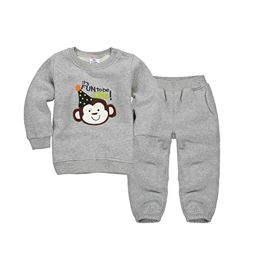 CuteOn Tout-Petit Enfants bébé Garçons Filles Hiver Survêtement Pullover Sweat-Shirt Décontractée Top + Pantalons Tenues Ensemble Gris 4 Ans