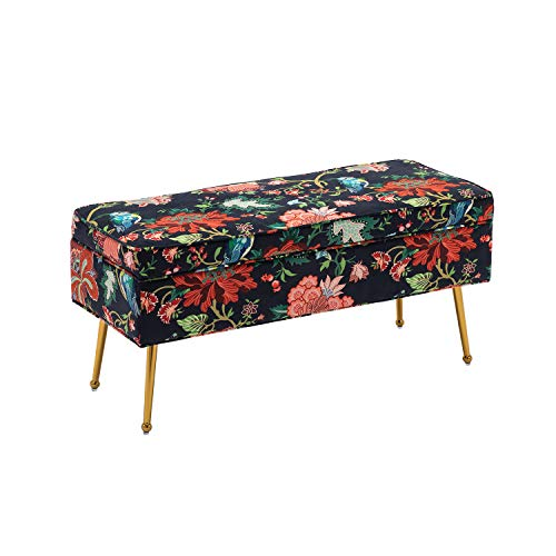 DM Furniture Storage Bench Modern Colorful Flowers and Birds Pattern Red Living Room/Bedroom Ottoman with Gold Metal Legs (Red Flowers)