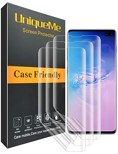 UniqueMe [3 Pack] Protector de Pantalla para Samsung Galaxy S10 Plus, Piel Líquida Cobertura Total - Estuche fácil - Película Flexible Transparente HD con garantía de reemplazo de por Vida