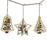 Pinhan 3 Stücke Weihnachtsbaum Hängen Anhänger Stern Glocke Baum Form Holz Weihnachten Ornament für Kunst DIY Handwerk Scrapbooking