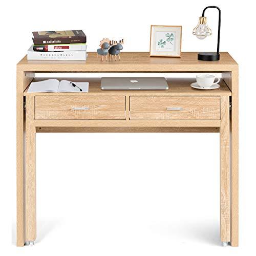 DREAMADE Holz Schreibtisch Computertisch ausziehbar, Bürotisch Eckschreibtisch mit Schubladen, Arbeitstisch Konsolentisch massiv,für Zuhause Büro Schule, Natur