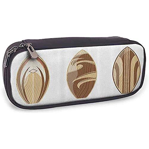 Estuche para bolígrafos Colección de tablas de surf Colección de tablas de surf de madera Color de madera aventurero Diseño clásico natural Perú Crema bronceado