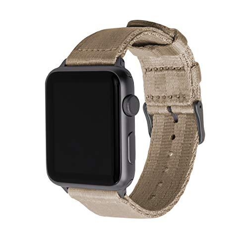 Archer Watch Straps | Cinturón de Seguridad Correa de Reloj de Nailon para Apple Watch, Hombre y Mujer | Caqui/Gris Espacial, 38/40mm