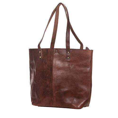 Shopper mit Reißverschluss BINOAR Aliyah Dunkelbraun Einkaufstasche Handtasche Tragetasche Umhängetasche Schultertasche Damen Braun Vintage
