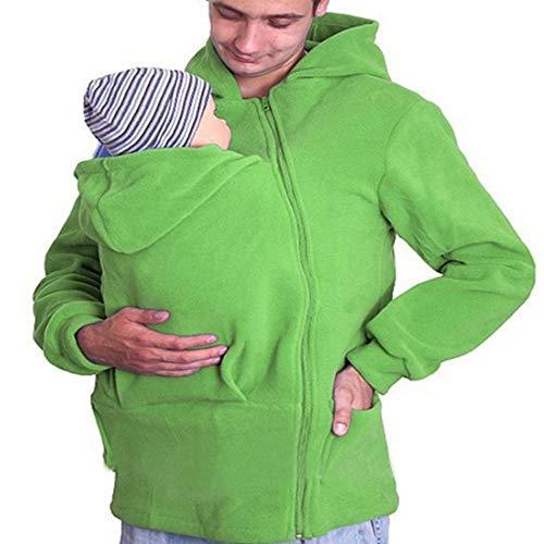 YXCM Babytrage Pullover Hoodie Herren Herbst Und Winter Warm Zip Up Mutterschaft Känguru Kapuzenpulli Pullover 2 in 1 Babytragen,Grün,XXXL