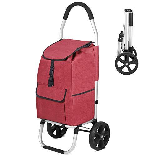 mfavour Stabiler Einkaufstrolley, Einkaufsroller klappbar Schieben/Ziehen, Einkaufswagen 2 räder mit Abnehmbarer Oxford-Tasche, 30 kg, 30L, Rot