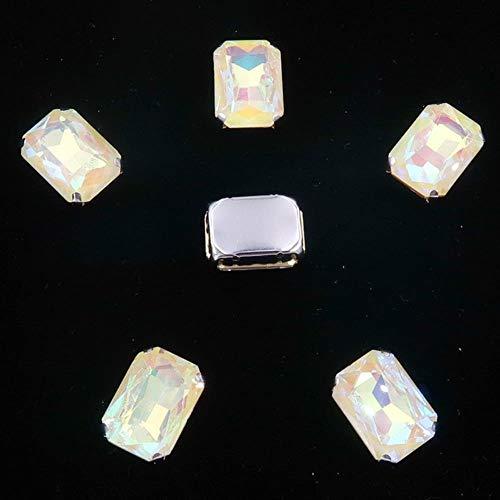 Rectangle Shape Silver Metal Claw 20pcs/Pack Rainbow & Jelly AB Glass Crystal 13 * 18mm Sew Rhinestones Beads Handicraft DIY Trim
