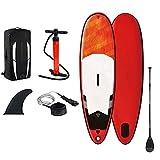 Stand Up Paddle Board Gonfiabile Paddle Board con pagaia in lega di alluminio regolabile, Tavola da SUP con piattaforma antiscivolo, zaino impermeabile, guinzaglio alla caviglia, pompa a mano