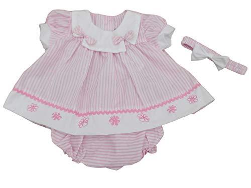 BNWT Robe d'été à rayures avec culotte et bandeau pour bébé fille - Rose - 4-6 ans