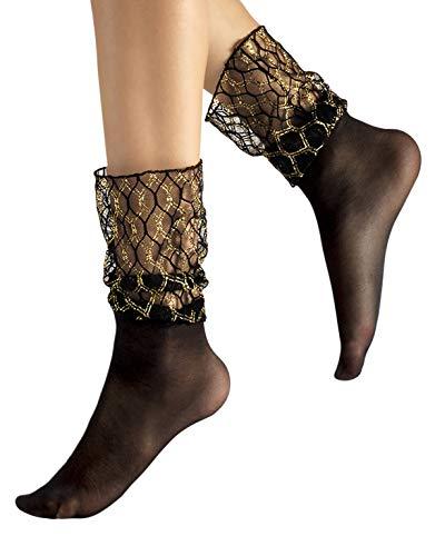 CALZITALY Damen Socken mit Breiten B& ohne Gummi & Goldenem Rautenmuster | Schwarz | 20 DEN | Made in Italy (Einheitsgröße, Schwarz)