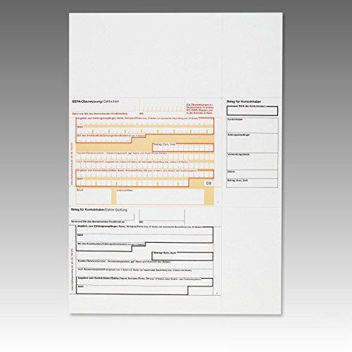 1000 x Überweisungsträger Überweisungsformular SEPA Zahlschein A4 ohne