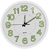 TOPPTIK Reloj de pared, moderno, digital, silencioso, no se hace tictac, funciona con pilas, fácil de leer, decoración para salón, cocina, oficina, escuela, aula (blanco, 12 pulgadas)