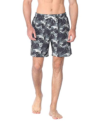 Nonwe Men's Board Shorts Quick Dry Leaf Printed Beach Holiday Swimming Shorts Green 34