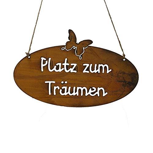 Bornhöft Schild Spruchtafel rostiges Gartenschild Edelrost Rost zum hängen Gartendeko Platz zum Träumen Oval
