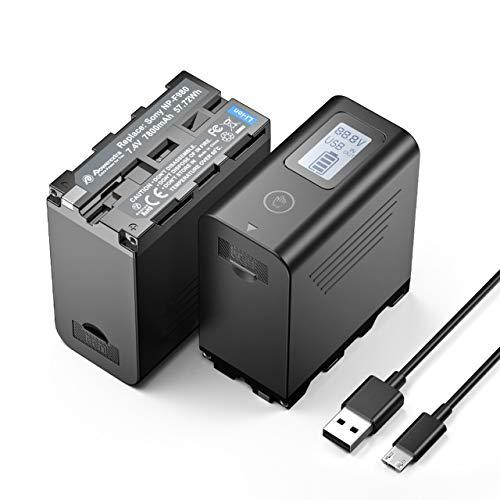 Powerextra 2 Batterie per Sony NP-F980 Batteria 7800 mAh per Sony F960 F970 F750 F550 Camera con Display a LED Alimentatore Facile da Installare - con Ingresso Micro-USB Uscita USB 5V