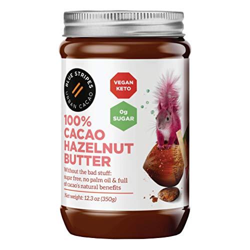 100% Cacao Hazelnut Butter by Blue Stripes | Vegan Chocolate Spread | Sugar Free, Keto-Friendly, No Palm Oil | 3 Ingredients Only Hazelnut Spread | 12.3 oz Jar