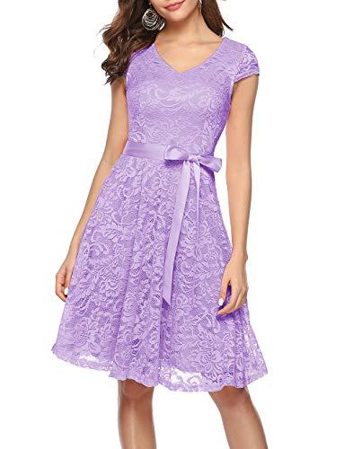 BeryLove Women's Floral Lace Short Bridesmaid Dress Cap Sleeve Cocktail Party Dress BLP7006Lavender2XL