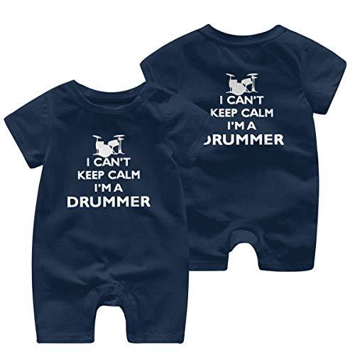 Ik kan niet rustig blijven Ik ben een drummer-1 Baby Meisje Korte Mouw Romper Jumpsuit Bodysuits 0-24 Maanden