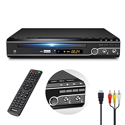 Gueray DVDプレーヤー デュアルMic対応 DVD CD再生専用モデル HDMI AV出力搭載 CPRM対応 最大1080P解像度対応 防振機能付き USBコピー機能付き リージョンフリー 地上デジタル放送 AV HDMIケーブル付き 日本語説明書付き