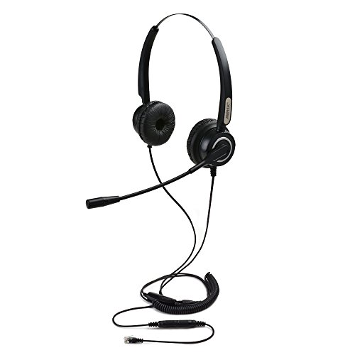 AGPtek HA0101 - Auriculares de diadema abiertos para teléfonos fijos (Binaurales RJ9 de 4 pines con función manos libres, micrófono con cancelación de ruido ,3.5MM QD ,silenciador de volumen)