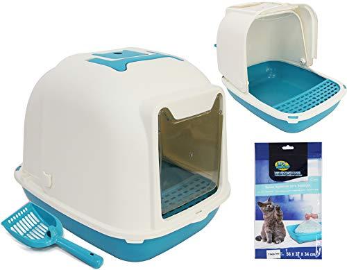 BPS Aseo Gato Arenero Sanitaria Cerrado Bandeja Arena para Gatos Mascotas con Pala y Una Bolsa para Bandja 4 Colores y 2 Tamaños M/L (L: 55x42x43 cm, Azul Cielo) BPS-5709AC