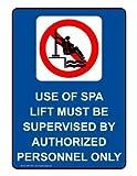 Nuevo letrero de advertencia con información de elevación de piscina para discapacitados, color azul, 20,3 x 30,5 cm