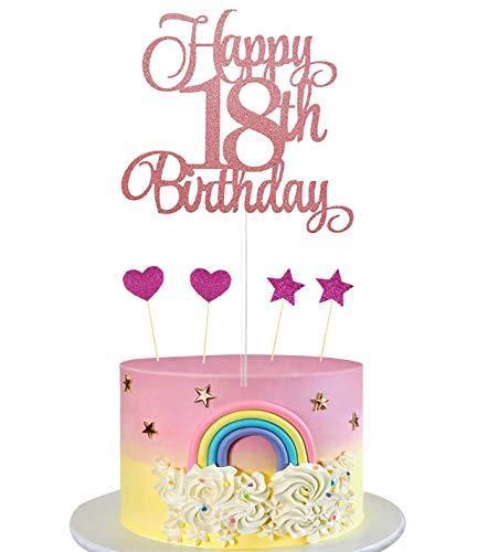 HIQE-FL Tortendeko Rosegold,Geburstagstorte Deko,Cake Topper Happy Birthday,Cake Toppers Deko