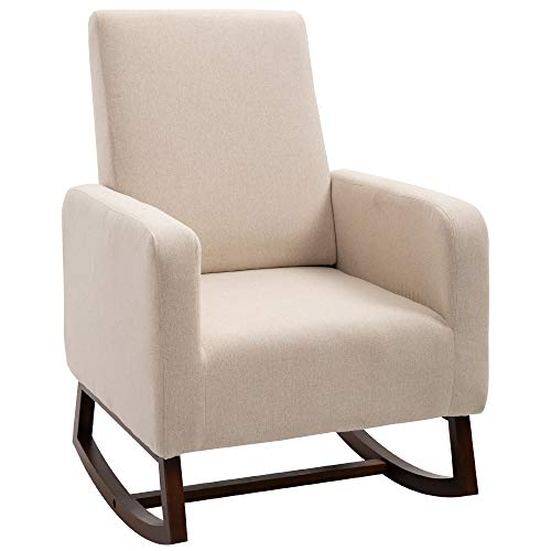 HOMCOM Accent Lounge Rocking Chair with Solid Curved Wood Base and Linen Padded Seat, Cream White