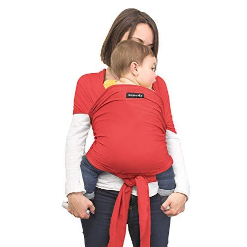 Suavinex - Fular Portabebés recién nacidos Babywrap + Bolsita de transporte. Camiseta Porteadora de bebé. Fular portabebés elástico. Aplio tamaño. porteo Seguro y ergonómico, color Rojo