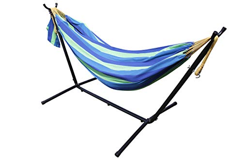 All Seasons Gazebos Ross James Garden Furniture, 100% Double Cotton Hammock with heavy Duty Metal Stand with over 200kg Weight Capacity (2020 Model) (Ultra Marine)