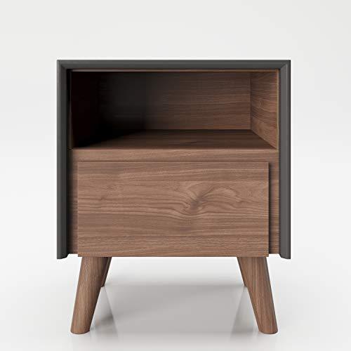 Comodino PLAYBOY con 1 scomparto aperto e 1 cassetto, gambe in legno massiccio e soft-close, tavolino, vano portaoggetti, tavolo in legno, design retrò, stile club