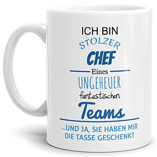Tasse mit Spruch Stolzer Chef Eines Ungeheuer Fantastischen Teams Weiss - Abschieds-Geschenk/Büro/Arbeit