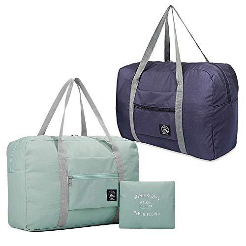 (2er Pack) Faltbare Reisetasche, wasserdichte Handgepäcktasche, leichte Reisetasche für Sport, Fitness, Urlaub (Hellblau, Dunkelblau)