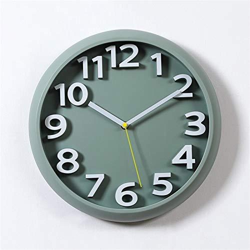 Reloj de pared grande de 13 pulgadas, funciona con pilas, silencioso, no tictac, reloj decorativo redondo para sala de estar, dormitorio, cocina, oficina (color: B)