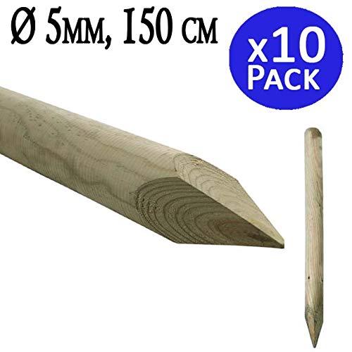 Houten palen met punt 150 cm, diameter 5 cm. Handig voor de bouw van hekken, hekken, vierkant, pergola's, enz. in de landbouw voor bomen. Verpakking met 10 stuks.