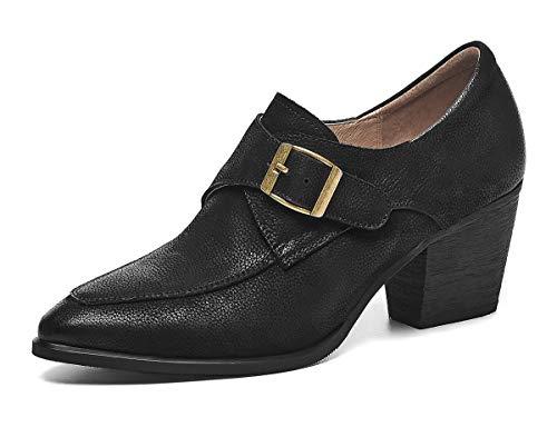 [CHICULL] チカル レディース ブーティ おじ靴 牛革 ウェスタンブーツ 手造り 6cm 太ヒール ポインテッドトゥ ハイヒール ショートブーツ アンクルブーツ パンプス 靴 カジュアル レザー 本革 婦人靴 ブラック 25.5cm