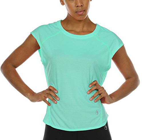 icyzone Workout Cap Sleeves Tops for Women - Fitness Gym Yoga Running Exercise T-Shirt (XL, Florida Keys)