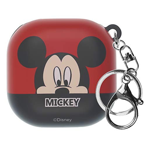WiLLBee Compatible with Galaxy Buds Live Case (2020) Mickey Mouse Key Ring Keychain Key Holder Hard PC Shell Cover - Half Face Mickey Mouse