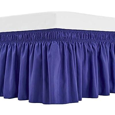 ARANA Bed Skirt Blue Queen Size Wrap-Around Dus...