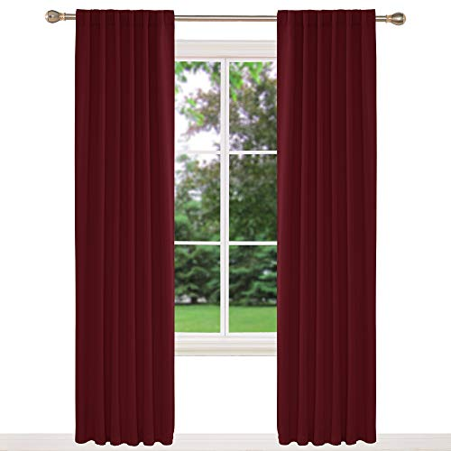 Deconovo Window Treatment Thermal Insulate Blackout Curtains Back Tab and Rod Pocket Curtains for Girls Bedroom Red W46 x L90 Inch One Pair
