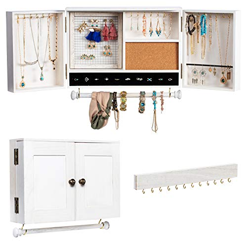 Jewelry Organizer Wall Mounted with Wooden Barn Door, Wall Mounted White Wood Hanging Jewelry Holder with Removable Bracelet Rod and Hook Organizer for Necklaces, Earrings, Bracelets, Ring Holder