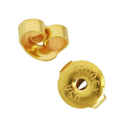 Paire de fermoirs papillon de rechange pour boucles d'oreilles Studex Sensitive, plaqué or